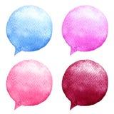 Watercolor speech bubbles set. Hand-drawn illustration. Social media icons. Royalty Free Stock Photo