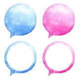Watercolor speech bubbles set. Hand-drawn illustration. Social media icons. Stock Photos