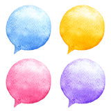 Watercolor speech bubbles set. Hand-drawn illustration. Social media icons. Stock Image