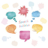 Watercolor speech bubbles set. Vector illustrations on white background Royalty Free Stock Photos