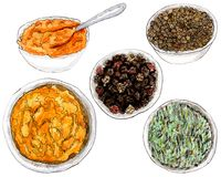 Watercolor spices in dish. Set of watercolor spices in the cups: black pepper, curry, turmeric, seed coriander and rosemary on white stock illustration