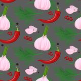 Watercolor spices seamless pattern. Hand drawn food texture with rosemar stock illustration