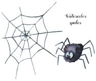 Watercolor spider. Hand painted helloween illustration isolated on white background. Magic character with web  for desig Royalty Free Stock Photo