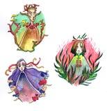 Watercolor spirits illustration. Hand drawn watercolor spirits cartoon original characters illustration set Stock Images