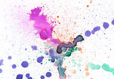Watercolor splash background. Watercolor colorful blot background isolated Stock Photos
