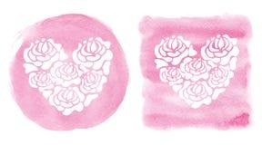 Watercolor splash background.Heart shape,Pink Stock Images