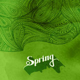 Watercolor splash background and zentangle pattern. spring. Vector illustration of green paint watercolor splash background and zentangle pattern. spring Stock Photography