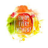 Watercolor splash banner with Enjoy message Stock Photos