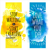 Watercolor splash banners with fun life style messages Stock Images