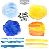 Watercolor splash,brushes.Blue,yellow.Summer vacation Stock Photo