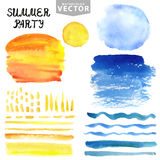 Watercolor splash,brushes set.Blue,yellow.Summer vacation Royalty Free Stock Images