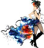 Cabaret dancer.Watercolor splash.can can.girl. Watercolor splash hand drawm illustration Stock Photos