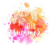 Watercolor splash with Hello summer message Royalty Free Stock Photos