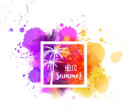 Watercolor splash with Hello summer message Royalty Free Stock Photo