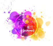 Watercolor splash with Hello summer message Royalty Free Stock Images