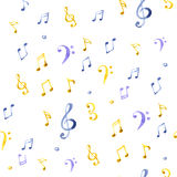 Watercolor splash music pattern. On white background Stock Images