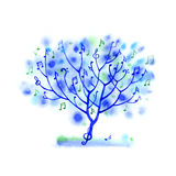 Watercolor splash musical tree Royalty Free Stock Image