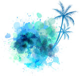 Watercolor splash with palm Stock Photography