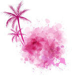 Watercolor splash with palm Stock Images