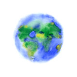 Watercolor splash planet Earth. On white background Royalty Free Stock Photo
