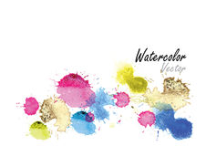 Watercolor splash   watercolor brush design ,card  blue color Stock Photography