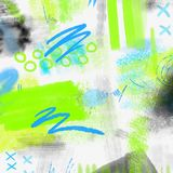 Watercolor splashed abstract spring geometrical background. Spring background in light green and blue colors with hand. Watercolor splashed abstract spring Royalty Free Stock Images