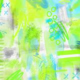 Watercolor splashed abstract spring geometrical background. Spring background in light green and blue colors with hand. Watercolor splashed abstract spring Stock Image
