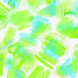 Watercolor splashed abstract spring geometrical background. Spring background in light green and blue colors with hand. Watercolor splashed abstract spring Royalty Free Stock Photos