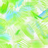 Watercolor splashed abstract spring geometrical background. Spring background in light green and blue colors with hand Stock Photo