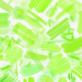 Watercolor splashed abstract spring geometrical background. Spring background in light green and blue colors with hand. Watercolor splashed abstract spring Stock Photography