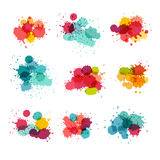 Watercolor splashes. Colorful paint splat stock illustration