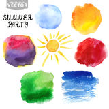 Watercolor splashes.Summer,holiday set. Bright Stock Photo