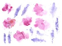 Free Watercolor Splashes Texture Background. Hand Drawn Blue And Purple Blots Drawing. Stock Images - 154209344