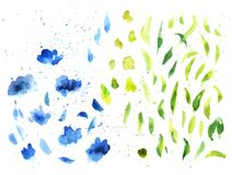 Free Watercolor Splashes Texture Vector Background. Hand Drawn Blue And Green Blots Drawing. Royalty Free Stock Photos - 154209268