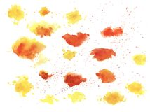 Free Watercolor Splashes Texture Vector Background. Hand Drawn Red Nd Yellow Blots Drawing. Royalty Free Stock Image - 154209276