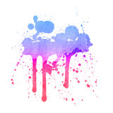 Watercolor splashes on the white. Royalty Free Stock Image
