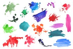 Watercolor splatters collection Stock Photography