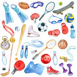 Watercolor sport doodle set. Isolated hand drawn design elements Royalty Free Stock Images