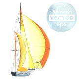 Watercolor sport yacht. Watercolor boat with sails made in the vector. Sport yacht, sailboat Royalty Free Stock Photo