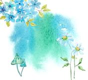 Watercolor spot and flowers. Bright and beautiful background Stock Photos