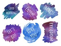 Set of stickers letteling phrases - Good morning, enjoy, thanks,. Watercolor spot. Set of  blue and violet stickers letteling phrases - Good morning, enjoy Royalty Free Stock Photography
