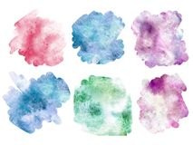 Watercolor spot. Set of colors blots - texture - pink, blue, vio. Watercolor spot. Set of colors blots. Multicolor blots for titles, backrpongs, design and decor Stock Photo