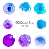 Watercolor spots in different shades of blue Royalty Free Stock Images
