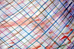 Watercolor spots and pencil lines, abstract background stock photo