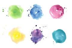 Watercolor spots set. Pastel colors Stock Photos