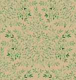 Watercolor sprigs with leaves on kraft paper. Hand-painted seamless pattern Royalty Free Stock Photos
