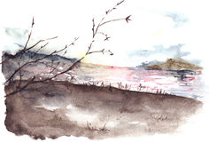 Watercolor spring autumn tree river cost landscape Royalty Free Stock Image