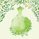 Watercolor Spring background.Green Dress and Stock Photography