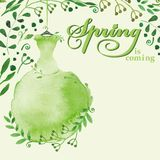 Watercolor Spring background.Green Dress Stock Photo
