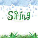 Watercolor Spring Background.Green grass,word Stock Photo